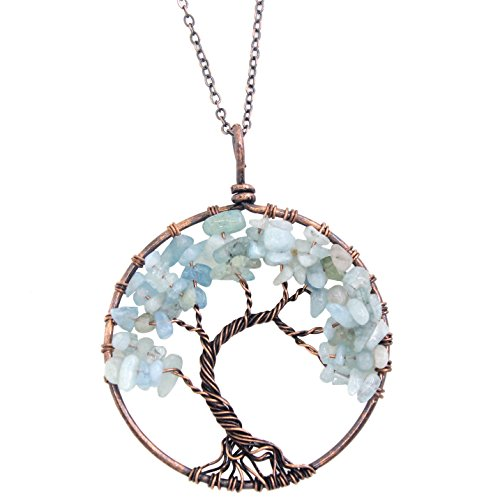KISSPAT Tree Of Life Pendant Necklace Handmade Gemstone With 26 Brass Chain, Chakra Jewelry Gift For Her (Aquamarine-bronze)