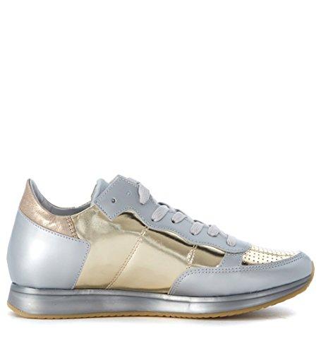 Sneaker Philippe Model Tropez en piel plata opaca y efecto espejo Plata