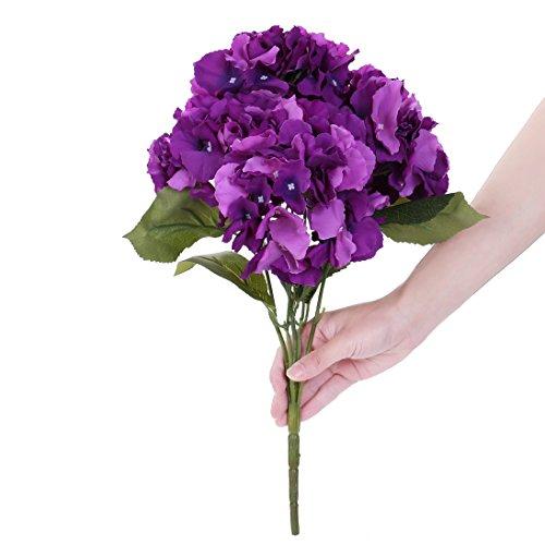 Houda Artificial Silk Hydrangea Bouquet Fake Flowers Arrangement Home Wedding Decor (Purple) (Bouquet Hydrangea Purple)