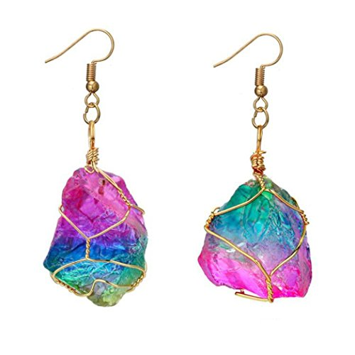 - Swyss Gold Plated Pendant Earrings Rainbow Stone Natural Crystal Earrings Rock Personality Jewelry