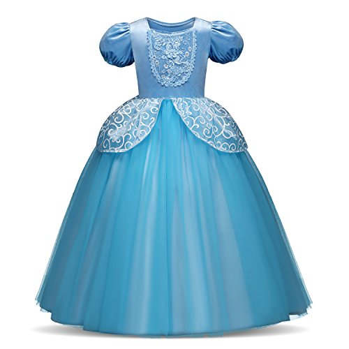 TTYAOVO Girl Princess Blue Deluxe Dress-up Costume Kids Party Dresses Size 5-6 Years (Deluxe Disney Princess Dresses)