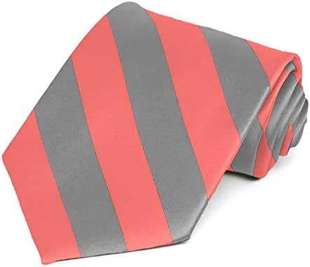 Coral and Gray Striped Tie