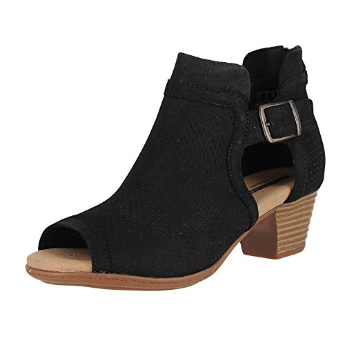 CLARKS Women's Valarie Kimble Heeled Sandal, Black Nubuck, 8.5 Medium (Clarks Peep Toe Shoes)