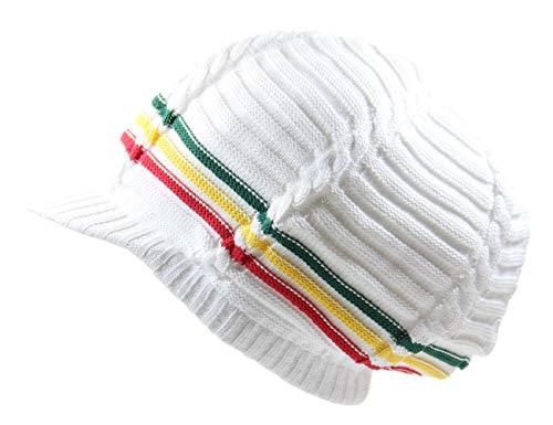 (RW 100% Cotton Classic Rasta Slouchy Ribbed Beanie Hats (White/Rasta/Brim))