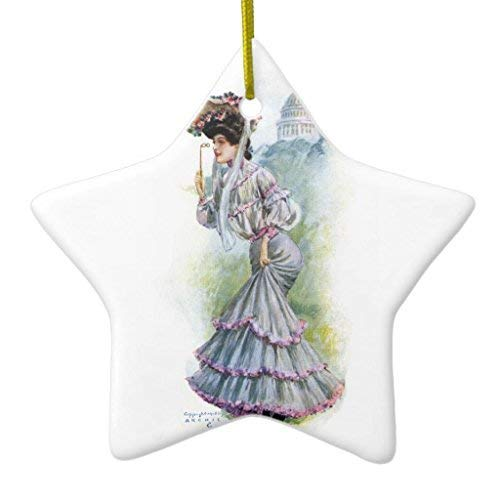 659ParkerRob Christmas Ornaments, Victorian Lady in Lavender Dress Star Ceramic Christmas Ornaments for Christmas Tree Decoration,, Keepsake,New Couples