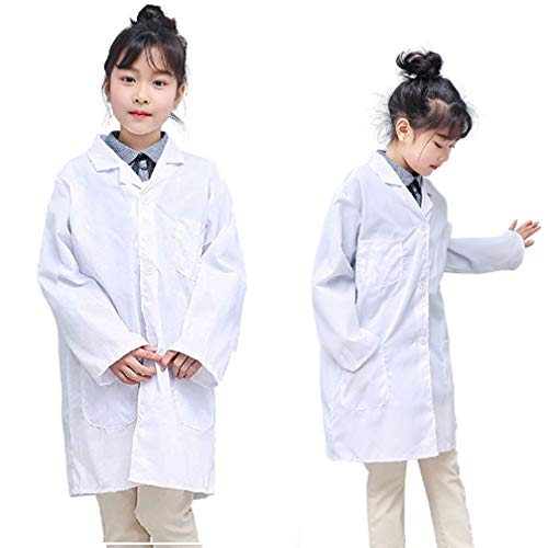 Kid's Lab Coat Durable Toddler Costume Set Lab Coats for Kid Scientists or Doctors for Halloween Scrub Dress Up Party and Scientists Role Play (White,X-Large)