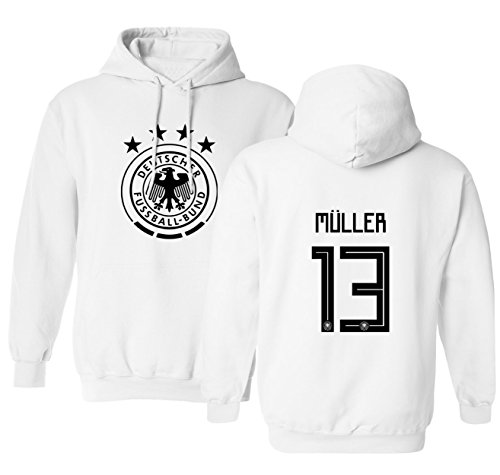 Tcamp Germany 2018 National Soccer #13 Thomas MULLER World Championship Men's Hooded Sweatshirt (White, Adult X-Large)
