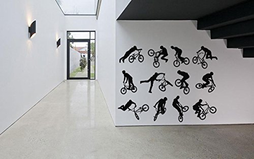 Removable Vinyl Sticker Mural Decal Wall Decor Poster Art Quote Extreme Tricks Sport Boy Girl Set Playroom Bedroom Mountain Bike Bicycle Jump BMX Ride Wheel Pedal Seat SA512