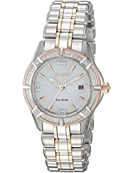 Citizen Womens The Signature Collection Quartz Stainless Steel Dress Watch, Color:Two Tone (Model: EW2276-80D)