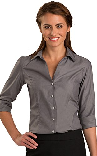 Ed Garments Women's No-Iron Pinpoint Dress Shirt 3/4 Sleeve, CHARCOAL, XX-Large (Pinpoint Sleeve Shirt 3/4)