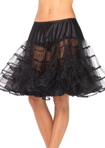 Leg Avenue Mid Length Petticoat Dress, Black, One Size (Black Person Halloween Costume)