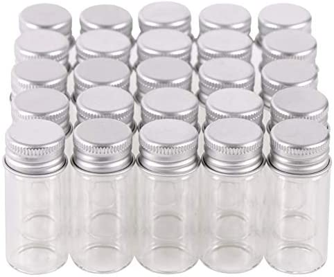 LOT of 20 small 10 ml glass Vials //Bottles //Jars with Rubber Lids