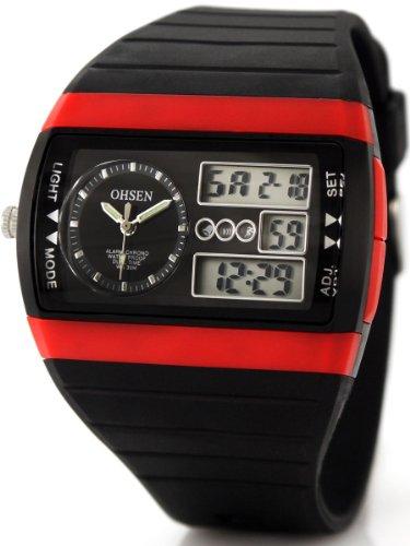 Alienwork Analog-Digital Armbanduhr Multi-funktion LCD Uhr Backlight schwarz Kautschuk OS.AD1305-3