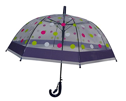 Foxfire for Kids Clear Dome Umbrella Navy with Green, Pink and White Polka - Dome Polka Dot