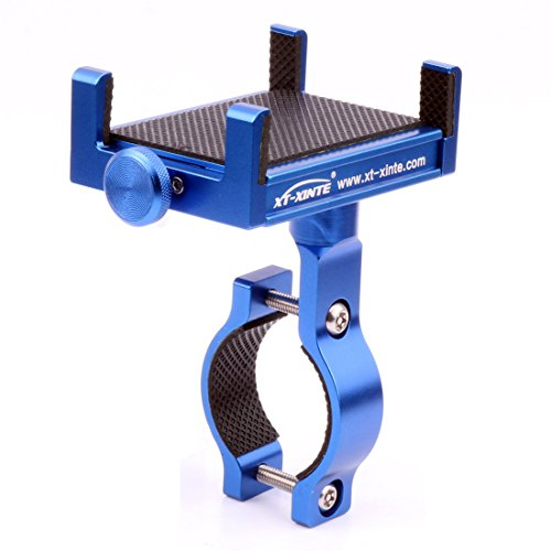 XT-XINTE Metal CNC Universal Cell Phone Mount Holder Bike Bicycle Handle Holder Motorcycle Handlebar Mount (blue)