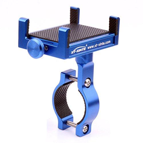 XT-XINTE Metal CNC Universal Cell Phone Mount Holder Bike Bicycle Handle Holder Motorcycle Handlebar Mount (blue)