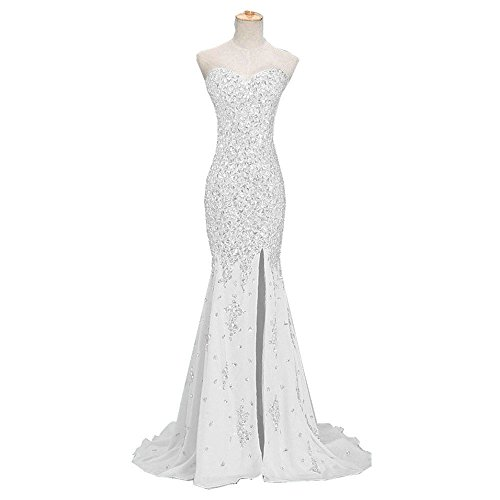 Uryouthstyle Beaded Crystals Prom Dresses Long Mermaid Evening Gowns US6 White (Beaded White Dresses)