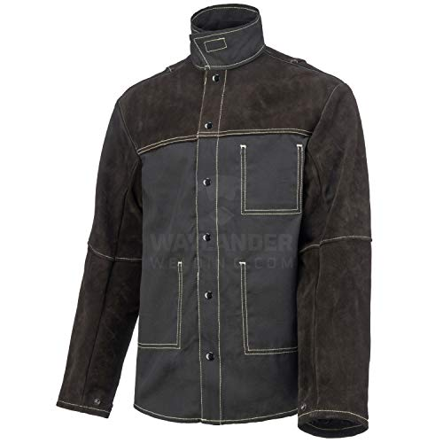 Waylander Welding Jacket Split Leather Heat Fire Resistant Cotton Kevlar Stitched Cowhide - 2XL