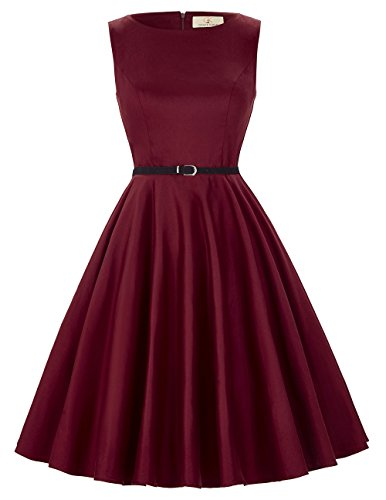A-Line Women 50s 60s Vintage Pin up Dress Red Size 2XL F-49