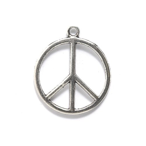 - Shipwreck Beads Zinc Alloy Peace Sign Pendant, 25mm, Silver, 12-Pack, 25-mm,