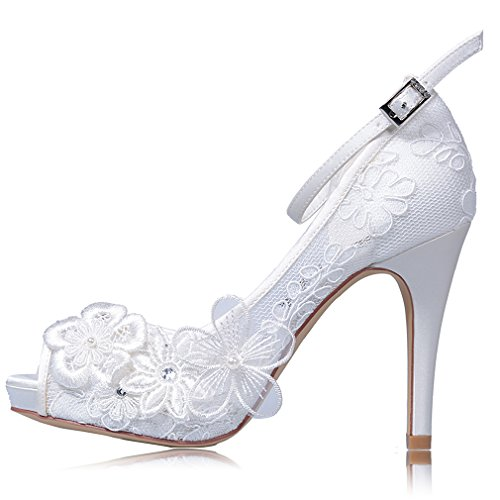 YOOZIRI White Lace Wedding Shoes For Bridal With Floral brooches Medium Heel-4inch-Peep Toe