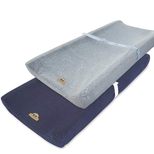 Green Changing Pad Cover - Ultra Soft and Stretchy Changing Pad Cover 2pk by BlueSnail (Gray+Navy)