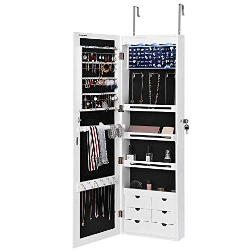 SONGMICS LED Jewelry Cabinet Armoire with 6 Drawers Lockable Door/Wall Mounted Jewelry Organizer White Patented UJJC88W ()