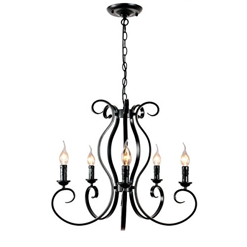 Unitary Brand Vintage Black Metal Candle Chandelier with 5 E12 Bulb Sockets 200W Painted Finish - 5 Light Candle Chandelier