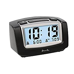 DreamSky Digital Alarm Clock With Dual Alarms ,Snooze And Smart Nightlight With Dimmer , Battery Operated Clock For Bedroom /Bedside, Simple To Set.