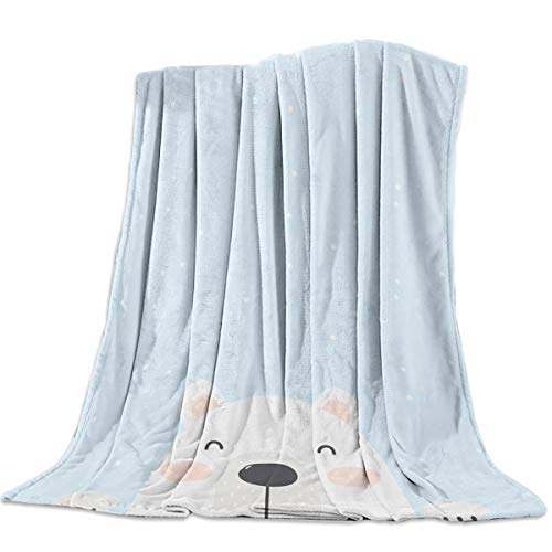 BULING Lightweight Flannel Traveling Throw Blanket Blankets Cartoon Polar Bear Kids on Blue Background Blankets/Bedcovers/Bedspread/Throws for Couch Bed 49x79inch