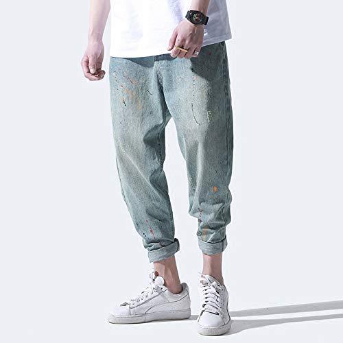 Masculino Eveorssra Marea Otoño Haren Retro Vaqueros Desgaste Jeans Pantalones De Pies Pintura Xl Hombres Azul XprpR4qw