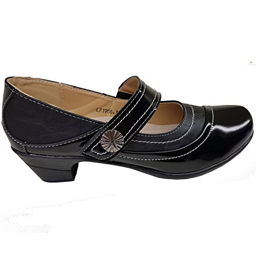 Sapphire Boutique Womens Slant Stitch Faux Leather Patent Padded Insole Strap Low Block Heels Black MGTI5ArIFF