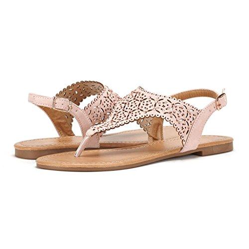 LE MIU MEDINIE Women Rhinestone Casual Wear Gladiator Flat Cut Out Sandals, Nude, 8.5 B(M) US