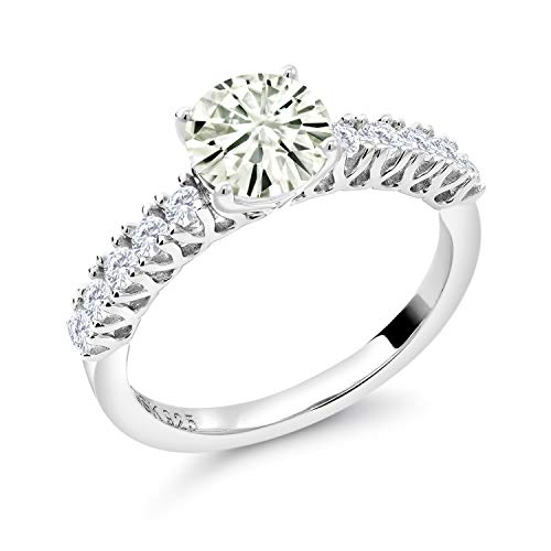 925 Sterling Silver Solitaire w- Accent Stones Ring Forever Classic (KLM) Round 1.00ct (DEW) Created Moissanite by Charles & Colvard and Created Sapphire (Size 8)