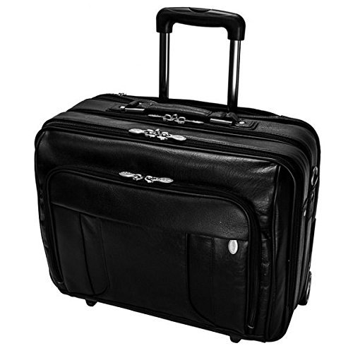 Black Wheeling Briefcase, laptop briefcase 17, Softside, 17in. Wheeled Laptop Overnighter, CheckpointFriendly, Solid Pattern, Leather, Wheeled, Business
