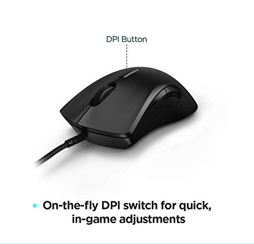 Lenovo Legion M300 RGB Gaming Mouse with 8 Programmable Buttons, USB 2.0, Up to 8000 DPI and 1000 Hz, Ambidextrous, Black