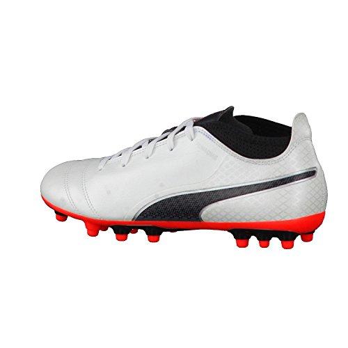 Puma One 17.4 Ag Jr, Zapatillas de Fútbol Unisex Niños Blanco (White-black-fiery Coral)