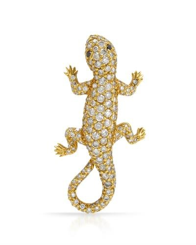 - NEW YEAR SALE!!! 18K Yellow Gold Round & Round Diamond Brooch