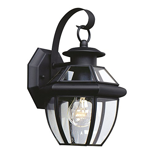 Sea Gull Lighting 8037-12 Lancaster One-Light Outdoor Wall Lantern with Clear Curved Beveled Glass Panels, Black Finish