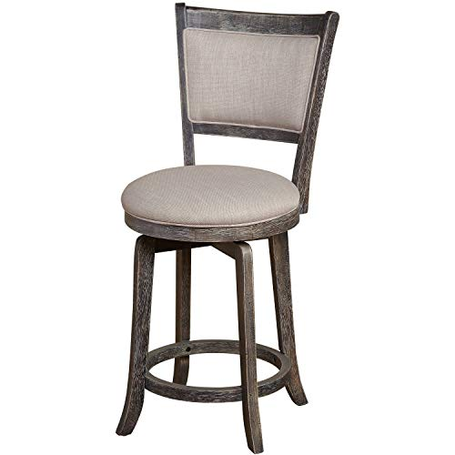 JaxTerrific French Country Swivel Counter Height Stool with Solid Back, Sturdy Wood Construction, Foot Ring, Light Grey Upholstered Padded Seat, Weathered Grey with a Slightly Distressed Finish ()