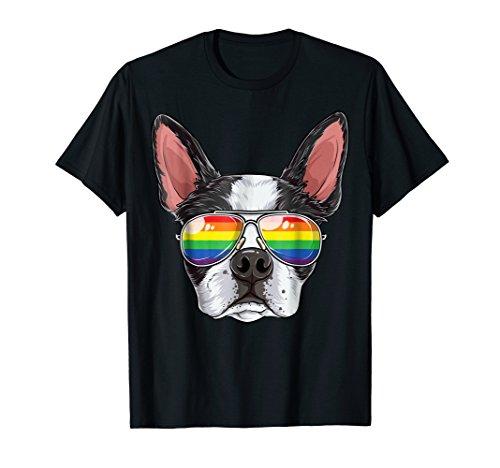 (Boston Terrier Gay Pride Flag Sunglasses LGBT T shirt)