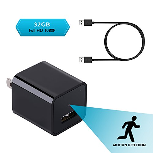 Spy Cameras Charger Adapter Motion Activated, 1080P HD Hidden Camera USB Wall Charger with 32G Internal Memory, Monitor Home Activity