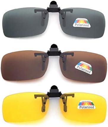 3 PCS Unisex UV400 gepolariseerde lens Frameless rechthoek Lens Flip Up Clip on Prescription Zonnebril Glazen Night Vision Glasses
