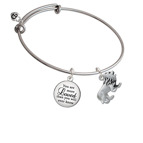 Silvertone 3-D Lion You Are More Loved Bangle Bracelet