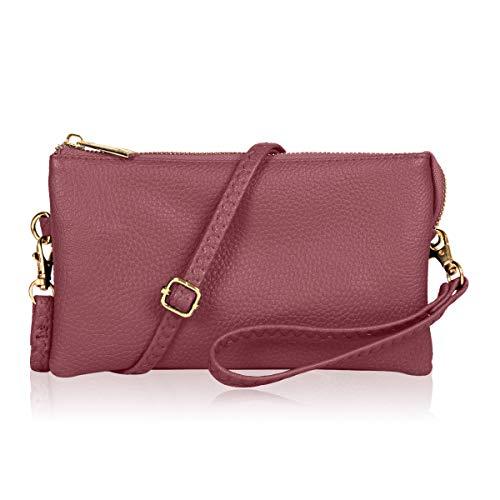 Convertible Vegan Leather Wallet Purse Clutch - Small Handbag Phone/Card Slots & Detachable Wristlet/Shoulder/Crossbody Strap (Pebbled - ()