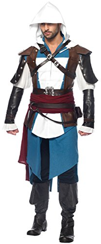 [UHC Men's Assassins Creed Edward Kenway Outfit Adult Halloween Fancy Costume, M/L] (Cheap Assassins Creed Costume)