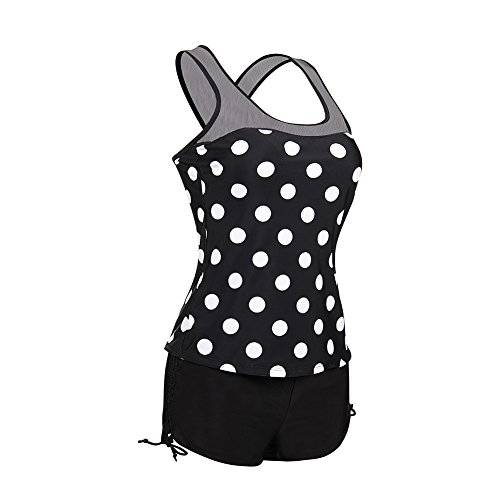 Lover-Beauty Damen Tankini-Set Neckholder Badeanzug Oberteil mit Slip Bikini-Sets Push up Schwarz F03gfGo