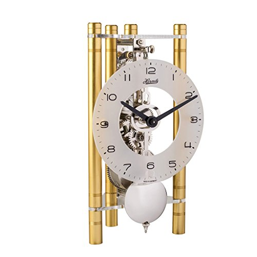 Lakin Triangular Table Clock - Gold with an Arabic Glass Dial & Silver pendulum - Hermle 23025500721