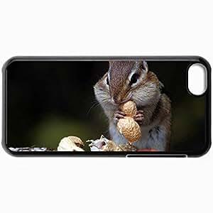 Fashion Unique Design Protective Cellphone Back Cover Case For iPhone 5C Case Chipmunk Nuts Food Sit Black