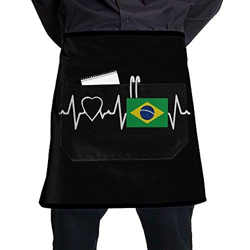 Unisex Short Aprons I Love Brazil Western Restaurant Sleeveless Anti-Fouling Overalls Portable Pocket Design